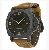 망 시계 44mm 갈색 스트랩 슈퍼 1950 P 441 자동 무브먼트 세라믹 베젤 패션 남자 시계 공장 원래 상자