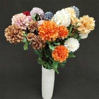 "11Pcs Fake Chrysanthemum Ball (4 Heads piece) 27.56"" Length Simulation Round Hydrangea For Wedding Home Artificial Flowers Decorative & Wrea"