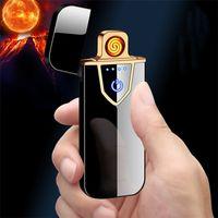 Зарядки USB Зарядные зарядки Сенсорный экран Смысл Ветрозащитные Корящие Аксессуары Двухборочные Пожарные Электронные Портативные Металлические Зажигалки ZC154