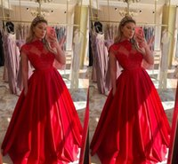 High Neck Lace Appliques A-Line Evening Dresses Pleated Middle East Prom Dress Floor Length Party Gowns with pocket