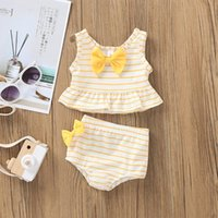 One-Pieces Baby Kids Girl Bow Swimsuit Striped Bathing Suit Bikini 2pc Set Swimwear Beach Wear For Girls