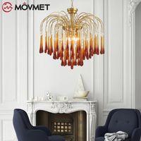 Chandeliers Modern Red Crystal Chandelier Lustres De Cristal Lights Tassel Pendants Living Room Lamp Fixtures