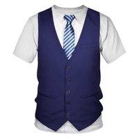 Komik Sahte Takım 3D T Gömlek Smokin Papyon 3D Baskılı T Shirt Erkekler Yaz Moda Kısa Kollu Streetwear Sahte Takım Elbise Yelek tişört X0621