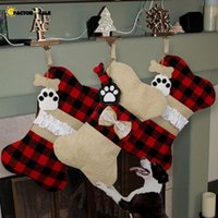 4 Styles Christmas Stockings Plaid Christmas Decoration Gift Bags For Pet Dog Cat Paw Stocking Gift Bags Tree Wall Hanging Ornament FO22