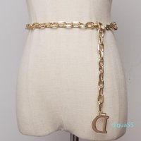Fashion Letter Metal Chain Women Thin Waist Belt Gold And Silver Colors Available Belts