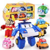 6шт / комплект Корея Robocar трансформация робот Poli Amber Roy автомобиль модель аниме действия фигурные игрушки для детей лучший подарок