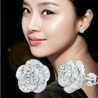 2021 925 Sterling Silver Stud Örhängen Kvinnors Eleganta Romantiska Körsbärs Kärlek Öron Smycken Partihandel Sydkoreanska version
