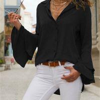 OCQBI Wild Простая бабочка Рукава Женщины Летний Белый Шифон Блузка V-образным вырезом Сплошной Кнопка Женские Рубашки Рубашки Женские Блузки