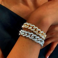Women Mens Hip Hop Bracelet Jewelry Iced Out Chain Rose Gold Miami Cuban Link Chains Bracelets