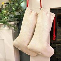 DIY Sublimation Blank Bgas Printing Linen Stockings Christmas Decoration Socks Halloween Advertising Drawstring Santa Sack Large Gift Kids Personalized A16 FO18