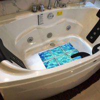 Wall Stickers 6pcs set 3D Bathtub Non Slip Waterproof Self Adhesive Bathroom Floor Decor Flower Landscape 15x15cm Dropship