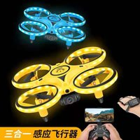Top sell Newest 3 In 1 RC Induction Hand Watch Gesture Control Mini UFO Quadcopter Drone With Camera Led Light Levitation Induction Aircraft kid Toys