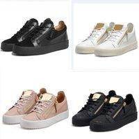 Giuseppe Zanotti High Top Sneaker Chaussures pour enfants Italie Luxe Casual Zipper Hommes et Femmes Baskets de Baskets en cuir véritables plates
