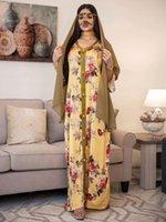 Eid Ramadan Zarif Etnik Çiçek Maxi Elbise Kadınlar Için 2021 Gevşek Müslüman Jalabiya Uzun Kollu Arapça Umman Dubai İslam Giyim