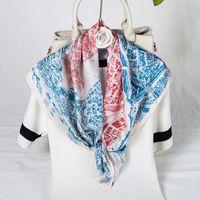 Scarves 70*70CM Early Spring City Of Horses Imitation Silk Lady Scarf Square Shawl Female Wholesale