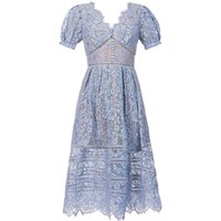 2021 여름 패션 디자인 여성의 V 넥 짧은 소매 속눈썹 레이스 높은 허리 미디 긴 파티 드레스 Vestidos SML