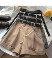 Pantaloncini da donna Ashgaily 2021 Women Vintage A Sashe Vintage All-Match Solid High Waist Casual Slosed Ladies XL