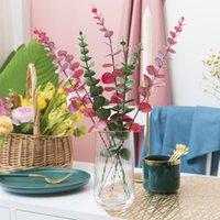 Simulation plant leaf decoration flower high quality plastic eucalyptus material wedding home decoration 1411 V2