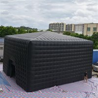 Outdoor giant black inflatable cube tent,Foldable air square marquee for big commercial event and shelter