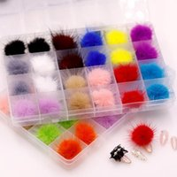 Party Favor 24PCS Box Magnetic Puffy Nail Pom Poms Kit Detachable Charm For Favors Decoration Charms