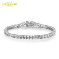 Solid 925 Sterling Silver 15-21CM Created Moissanite Diamond Tennis Charm Bracelets for Women Wedding Fine Jewelry Drop Shipping G0916
