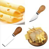 السكاكين 4 قطع مجموعات البلوط مقبض سكين شوكة مجرفة زبدة البيتزا القطاعة القاطع الفولاذ المقاوم للصدأ قطع الخبز الجبن المجلس مجموعة OWC3661