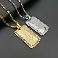 Men's Masonic Dog Tag Pendant Necklace with CZ Zircon Jewelry Stainless Steel Freemason Gold Tone Hip Hop Accessories