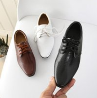 Flat Shoes 2021 Kids Genuine Leather Wedding Dress For Boys Brand Children Black Formal Wedge Sneakers 21-36