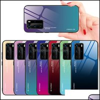 Aessories Cell Phones & Aessoriescolorf Gradient Phone Cases For Huawei P40 Pro P30 Lite P20 Plus Nova4E Y7P Y7A P Smart Tempered Glass Case