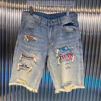 Erkek Kot Pantolon Ayakkabı Şort Jean Yaz Diz Ince Grafiti Çiçekler Yırtık Hasar Capris Shkinny Tasarımcılar Erkekler S giyim