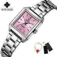 Armbanduhren 2021 Wwoor Einfache Frauen Watch Luxus Sportuhren Frau Leder Stahl Mode Quarzt Damen Kleid Armband Montre Homme