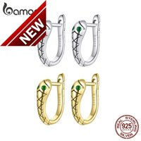bamoer 925 Sterling Silver Snake Earrings, Platinum Plated Tarnish Resistant Green CZ Hoop Earrings For Women SCE1104