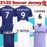 Leeds United Football Jerseys 21/22 # 9 Bamford Home Branco Jersey # 10 Raphinha Away Camisa Azul 2021/2022 Homens Uniformes Adultos