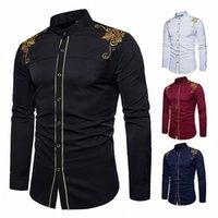 Camisa masculina para vestidos africanos moda homens 2019 roupas manga longa Bazin bordado 4Color outono tradicional África vestido Q7rc #