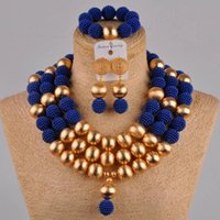 Earrings & Necklace Royal Blue African Jewelry Set Simulated Pearl Nigerian Wedding Beads Sets For Women FZZ37