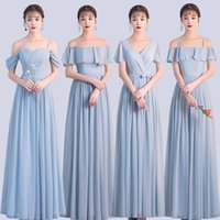 Korean Style Women Summer Party Sexy Wedding Dress Guest Pearl Chiffon Long Blue Pink Gray Bridesmaid Dresses Vestido Madrinha