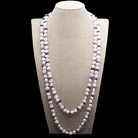 Hand knotted fashion necklace 8-9mm white baroque freshwater pearl crystal 154cm long sweater chain