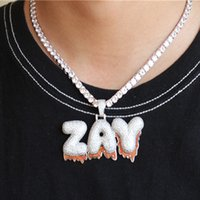 Luxury Custom Name Letter Zircon Pendant Necklace Micro Pave CZ Hip Hop Iced Out Tennis Chain Jewelry Dropshipping