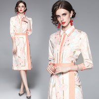 Boutique Womens Printed Set Shirt+skirt 3 4 Sleeve Lapel OL Two Piece Set 2021 Summer Autumn Blouse Skirt High-end Lady Suits