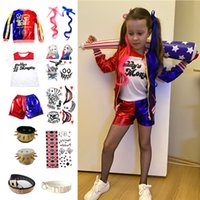 Theme Costume Harley Kids Girls Cosplay Costumes Quinn Monster Jacket Pants T-Shirt Sets Halloween Christmas Party Clothes
