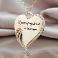 Liebe Herz Anhänger Halskette Brief Aushöhlen Strass Flügel Kette Legierung Gold Silber Überzug Frauen Charms Halsketten Mode 2 4HJA L2