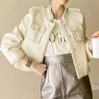 High End Socialite Tweed Wavy Style Short Jacket Women Coat Pocket Diamonds Veste Femme Chaqueta Mujer Women's Jackets
