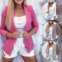 Women's Suits & Blazers Women Autumn Solid Color Jacket Long Sleeve Double Breasted Collar Suit Fashion Casual Blazer Female Office Ladies O