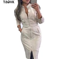 Taovk vestido feminino manga comprida bodycon zippers vintage carrinho golar vestidos femininos 210325