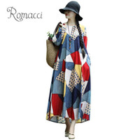 Casual Dresses Women Plus Size Dress Irregular Colorful Plaid Dot Polka Print Long For Sleeve Maxi Gown Ethnic Loose Vestido