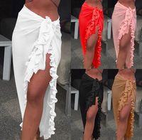 Donne Chiffon See-through Beach Bikini Cover Up Wrap Sciarpa Swimwear Pareo Sarong Dress Solid Ruffle Casual Sciarpe casual