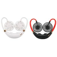 Electric Fans Hands-Free Neck Band Hanging USB Rechargeable Dual Fan Mini Air Cooler Summer Portable