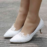 Dress Shoes Women's crystal wedding shoes, big white lace bridesmaid party shoes two inches heels 43. ABKQ