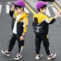 Erkek Takım Elbise 2021 Yeni Bahar Ve Sonbahar Bebek Yakışıklı Trendy Giyim Batı Tarzı Colorblock Beyzbol Üniforma İki Parçalı Spor Kore Sty