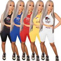 المرأة الصيف المرأة جميلة رياضية الأزياء الإضافية عارضة بلا أكمام السراويل إلكتروني طباعة قطعتين الركض الدعاوى S-XXL